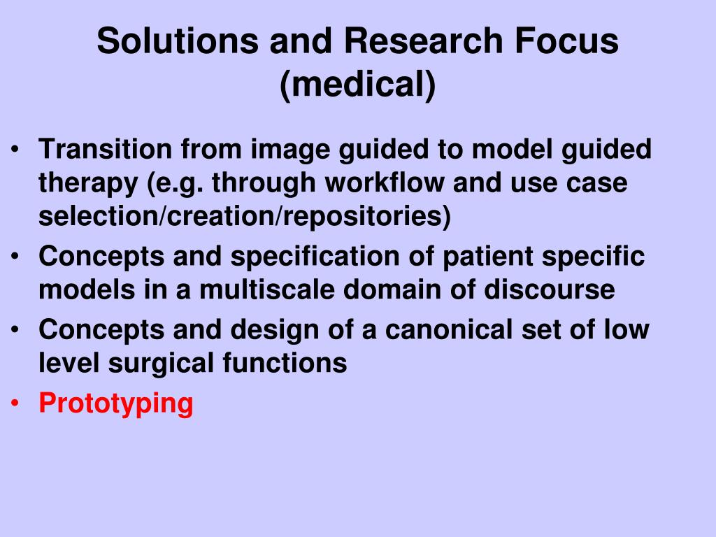 Solutions and Research Focus