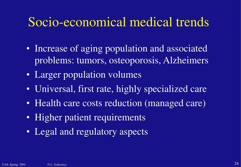 Socio-economical medical trends