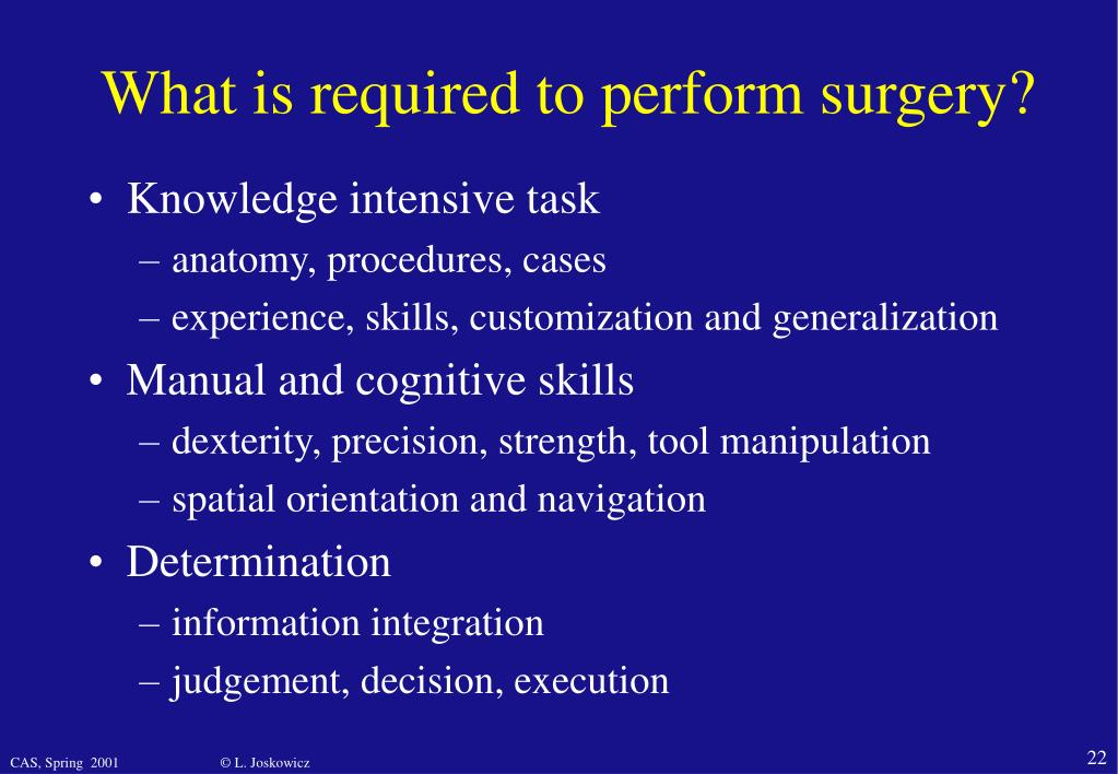 What is required to perform surgery?