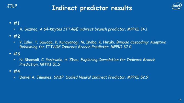Indirect predictor results