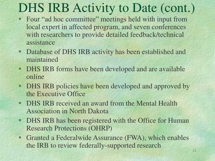 DHS IRB Activity to Date (cont.)