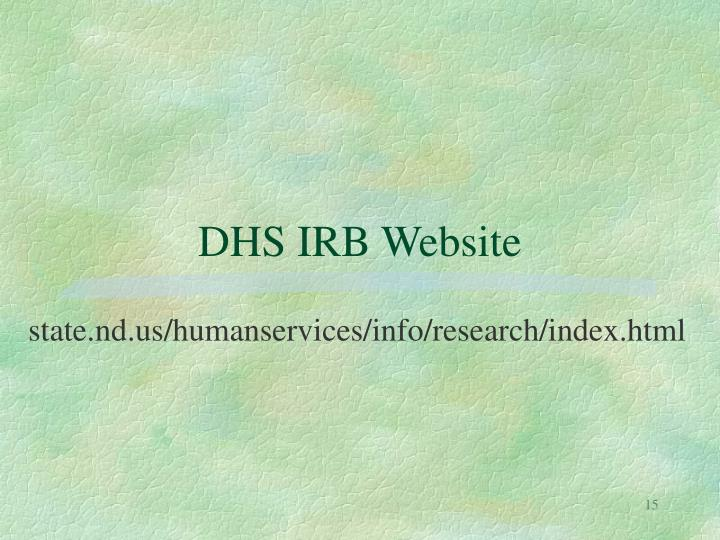 DHS IRB Website