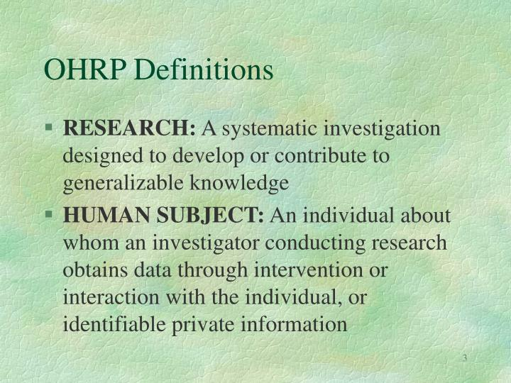OHRP Definitions