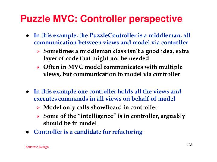 Puzzle mvc controller perspective
