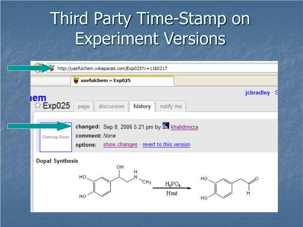 Third Party Time-Stamp on Experiment Versions