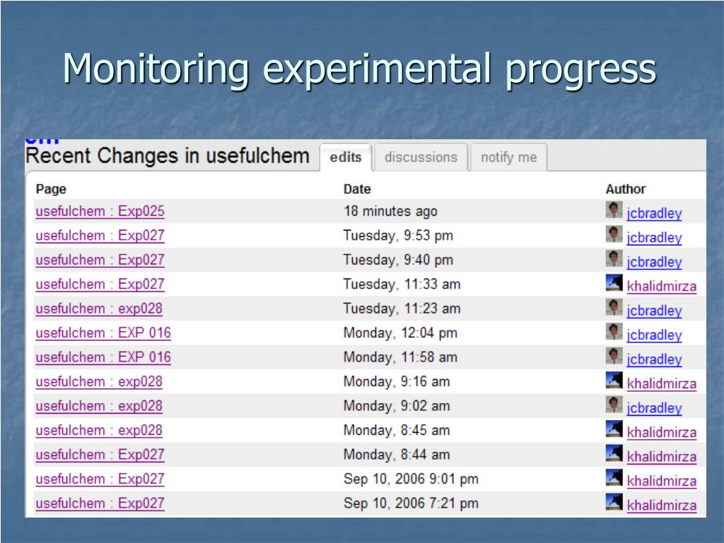 Monitoring experimental progress