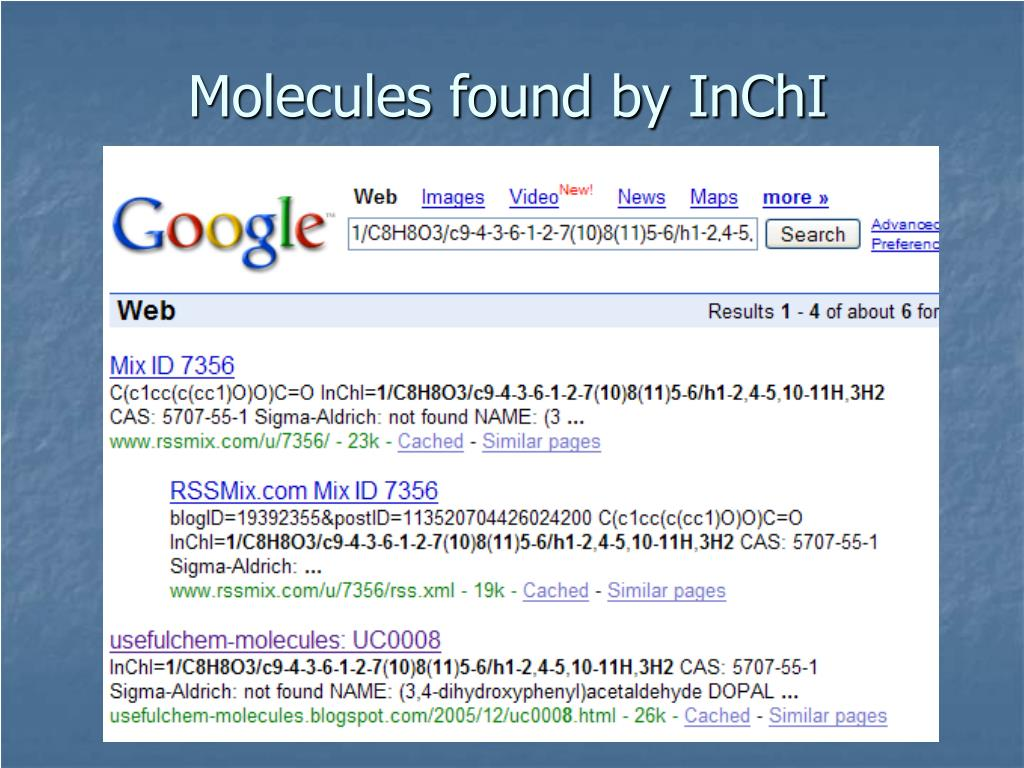 Molecules found by InChI