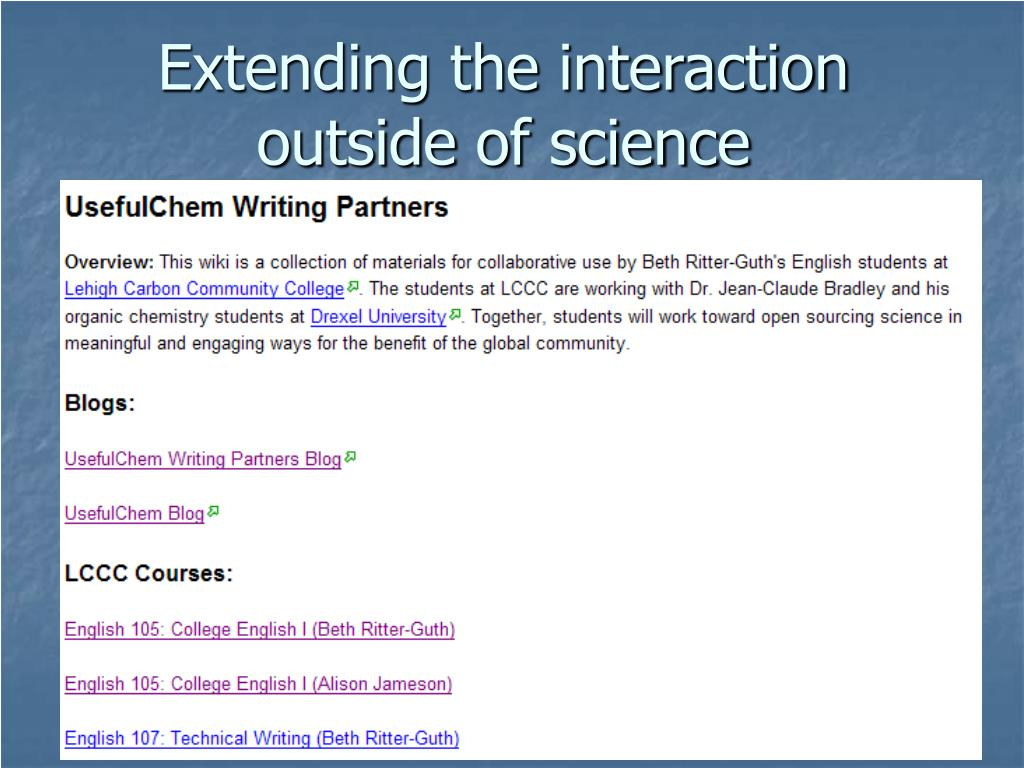 Extending the interaction outside of science