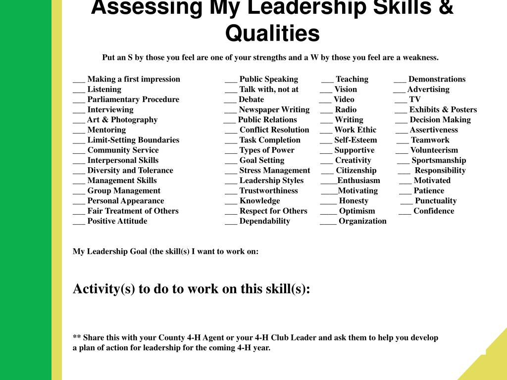 Assessing My Leadership Skills & Qualities