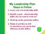 my leadership plan steps to follow