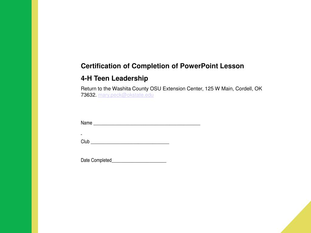 Certification of Completion of PowerPoint Lesson