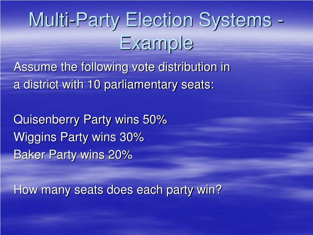 Multi-Party Election Systems - Example