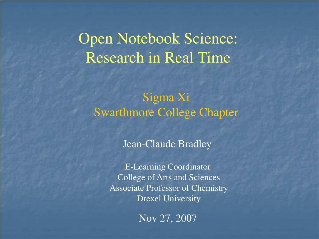 Open Notebook Science:
