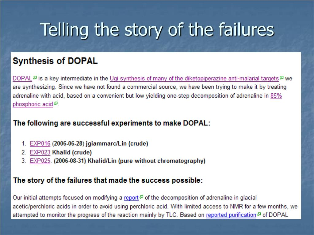 Telling the story of the failures