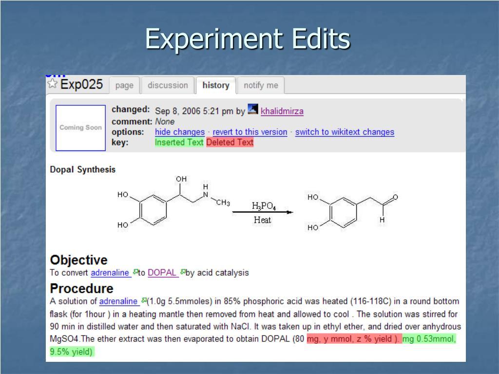 Experiment Edits