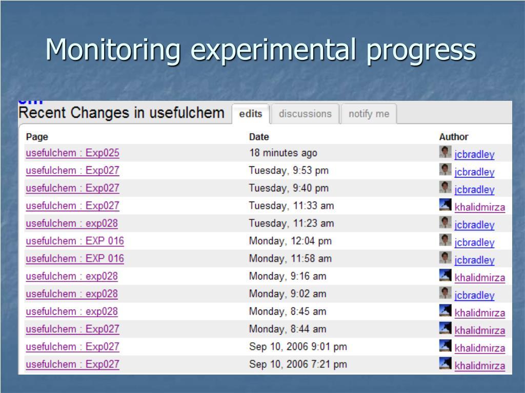 Monitoring experimental progress