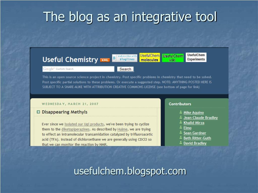 The blog as an integrative tool
