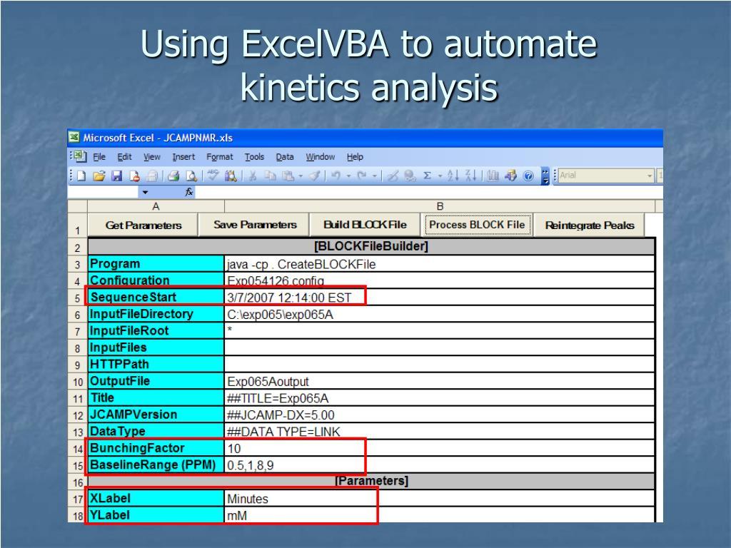 Using ExcelVBA to automate kinetics analysis