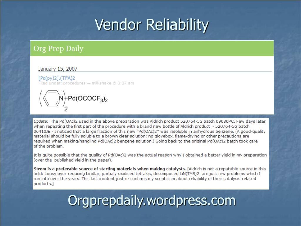 Vendor Reliability