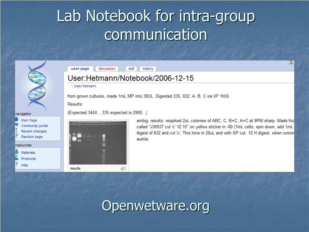Lab Notebook for intra-group communication
