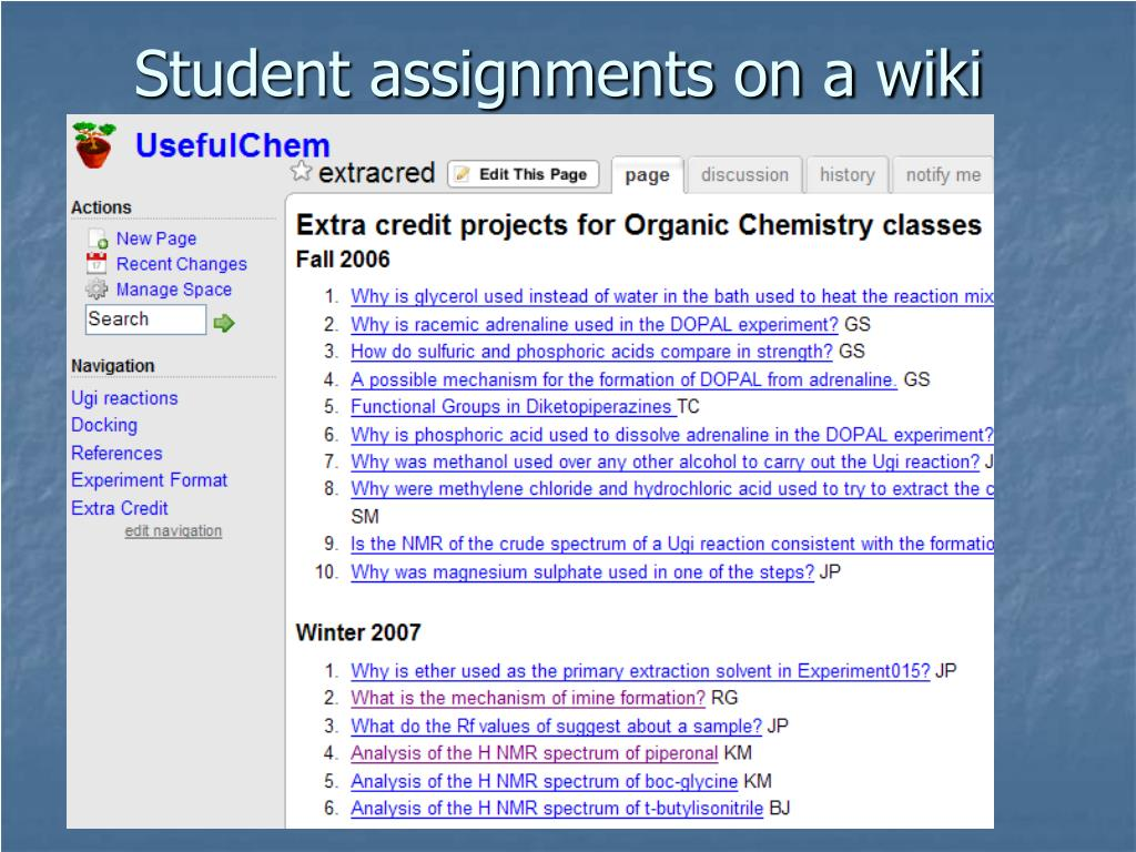 Student assignments on a wiki