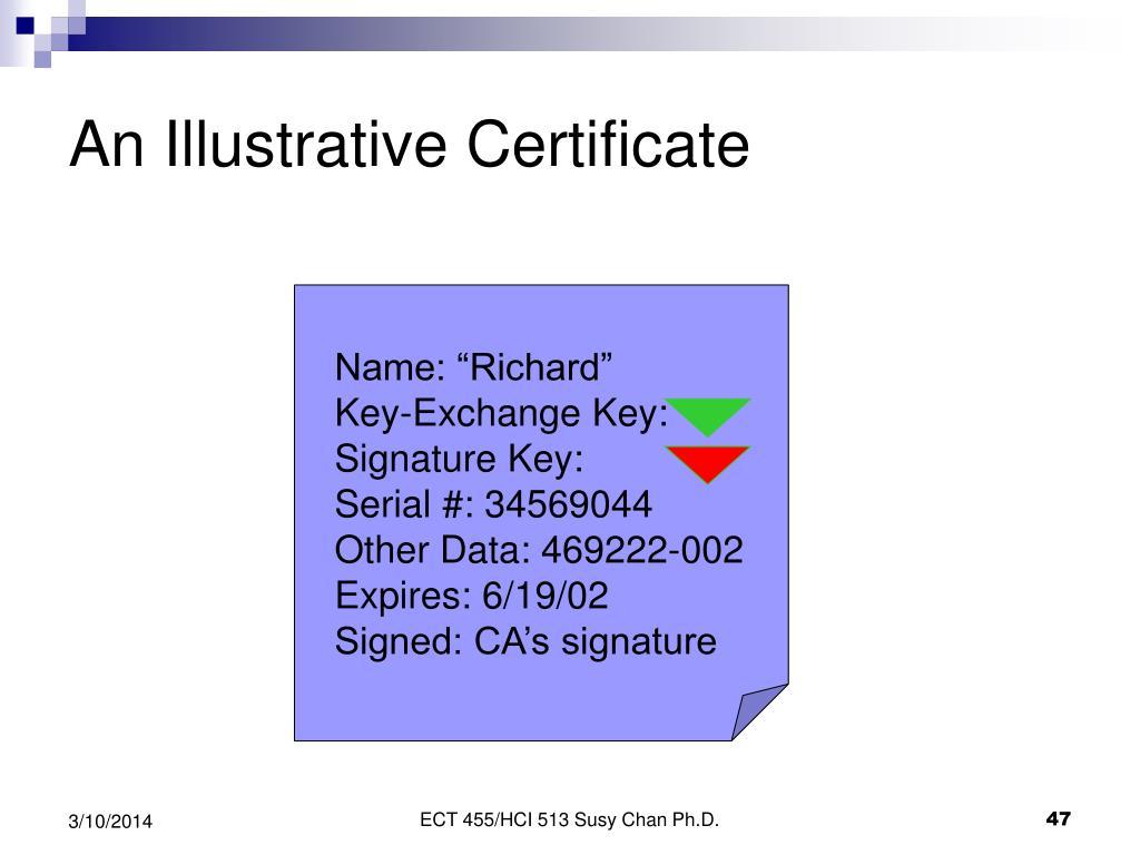 An Illustrative Certificate