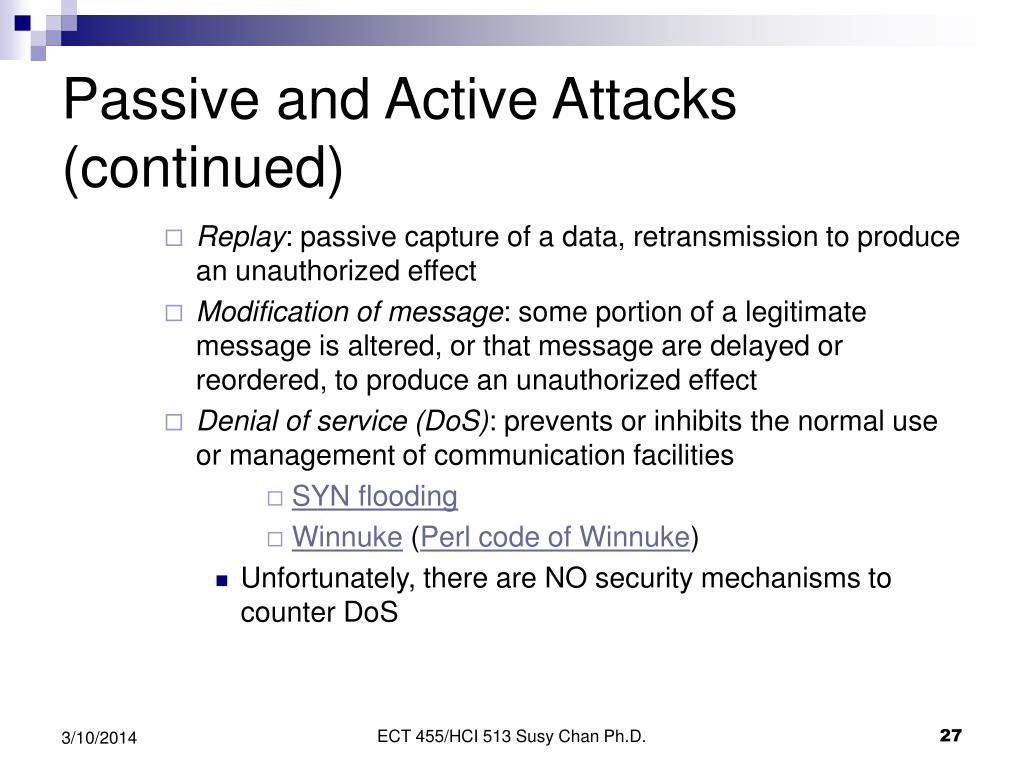 Passive and Active Attacks (continued)