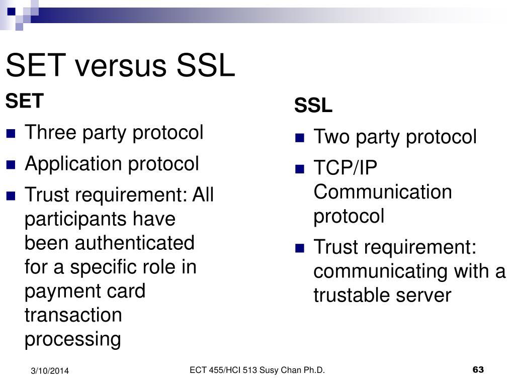 SET versus SSL