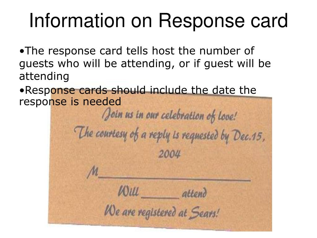 Information on Response card