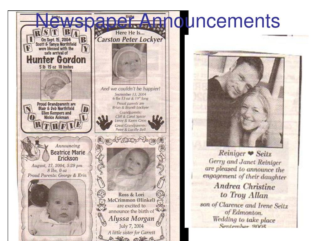 Newspaper Announcements