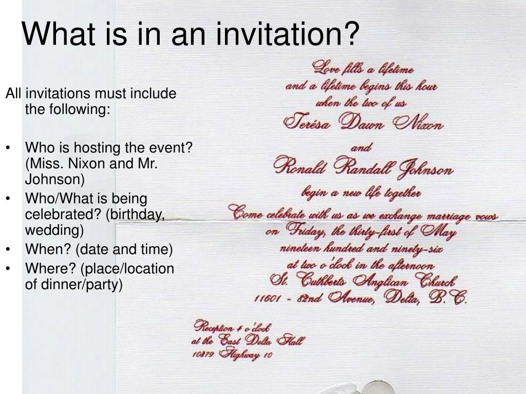 What is in an invitation?
