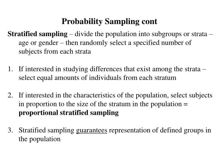 Probability Sampling cont