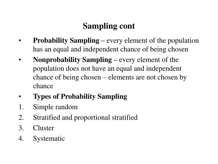 Sampling cont