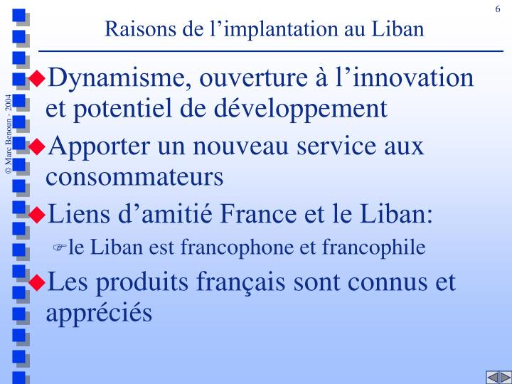 Raisons de l'implantation au Liban