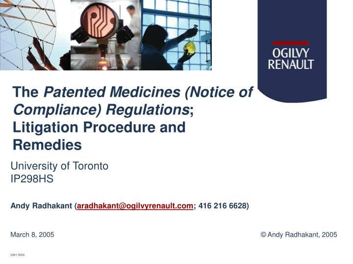 The patented medicines notice of compliance regulations litigation procedure and remedies l.jpg