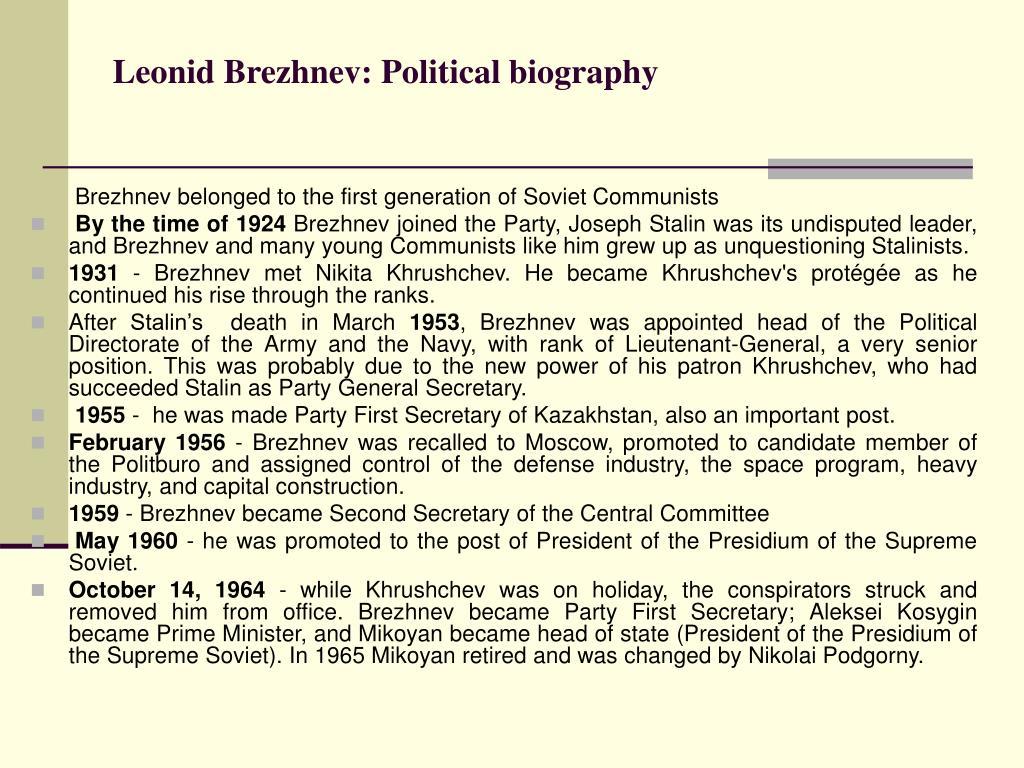 Leonid Brezhnev: Political biography