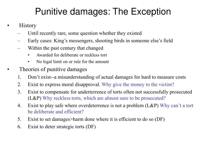 Punitive damages: The Exception