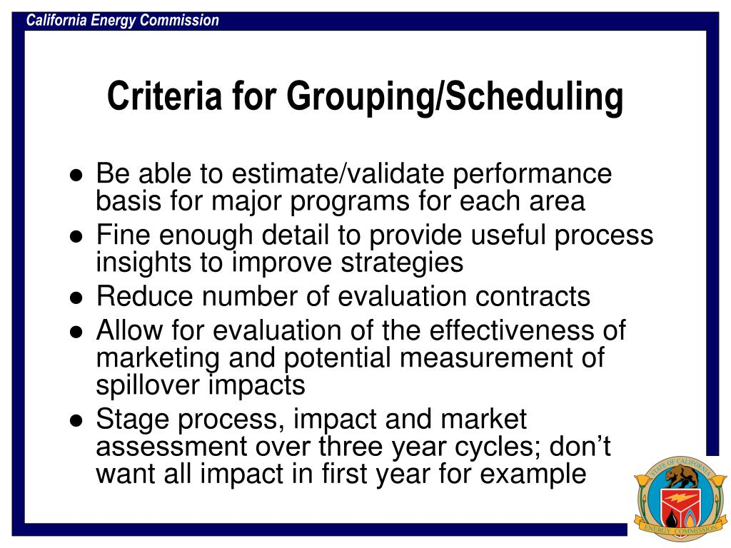Criteria for Grouping/Scheduling