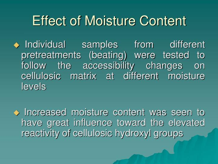 Effect of Moisture Content