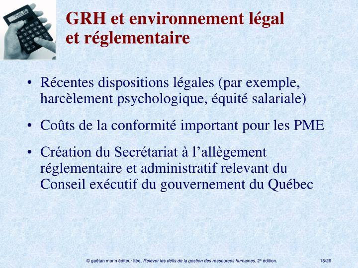 GRH et environnement légal