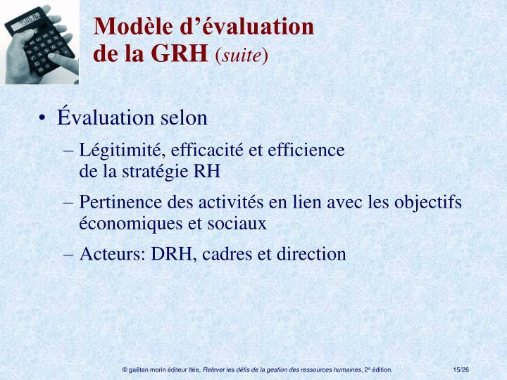 Modèle d'évaluation