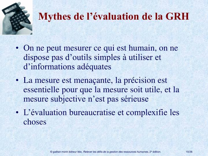 Mythes de l'évaluation de la GRH