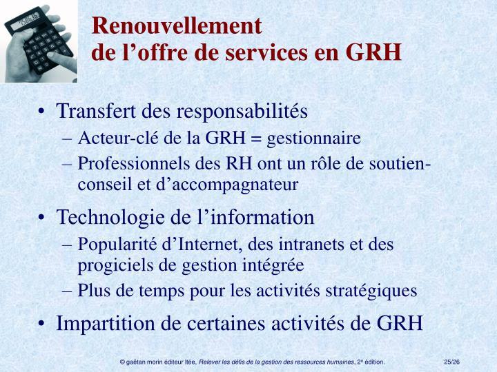 Renouvellement del'offredeservices en GRH