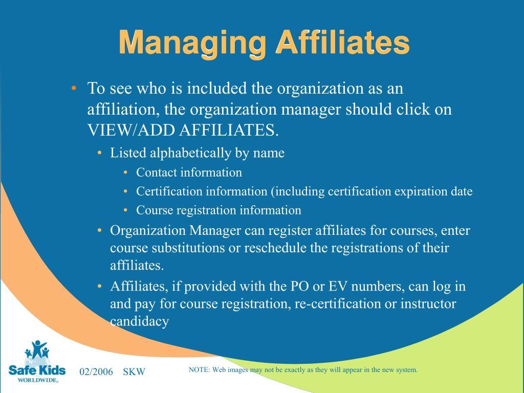 Managing Affiliates