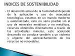 indices de sosteniibilidad