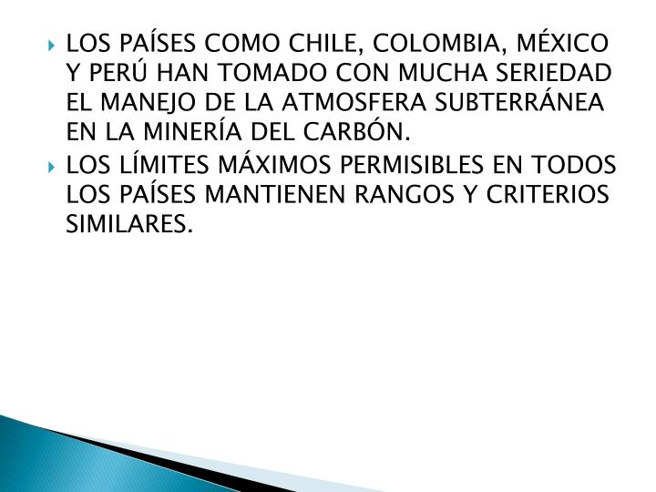 Los países como Chile, Colombia, México y Perú han tomado con mucha seriedad el manejo de la atmosfera subterránea en la minería del Carbón.