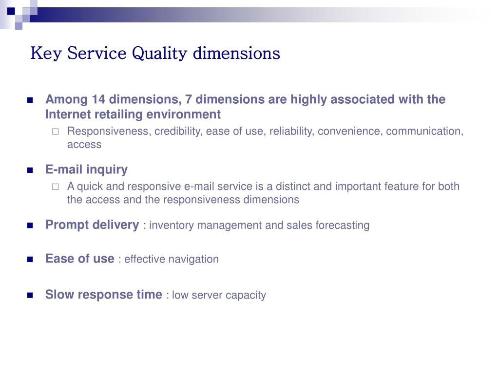 Key Service Quality dimensions