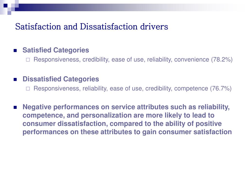 Satisfaction and Dissatisfaction drivers