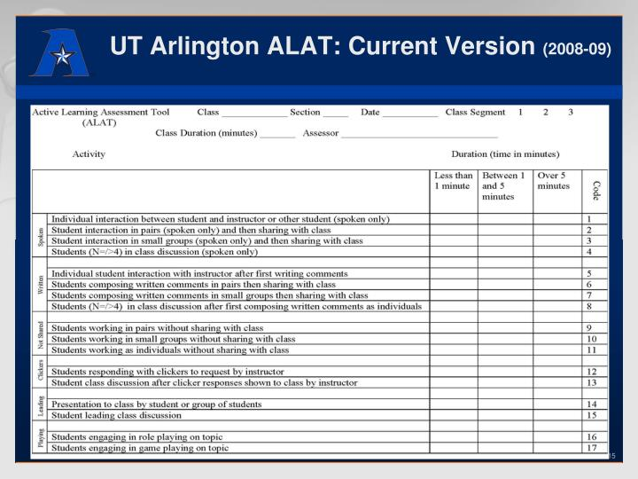 UT Arlington ALAT: Current Version