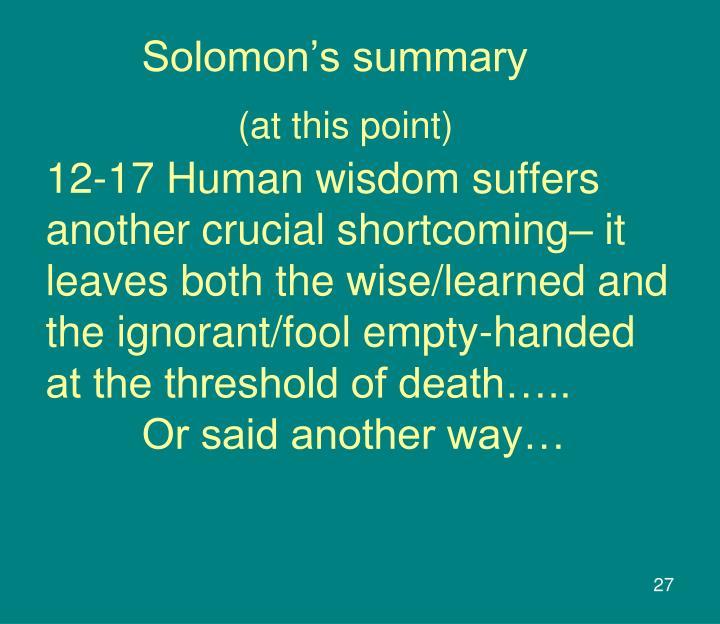 Solomon's summary
